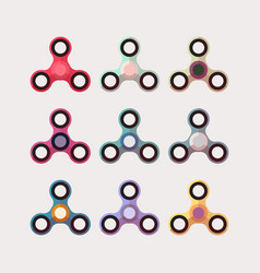 color hand fidgets spinners flat set vector image