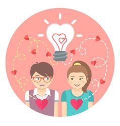 Couple in love with a light bulb in a pink circle vector image vector image
