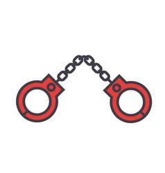 handcuffs concept line icon editable vector image