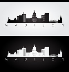 madison usa skyline and landmarks silhouette vector image