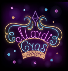 mardi gras neon crown decoration to fat tuesday vector image
