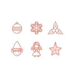 Christmas icons 3 line expanded vector