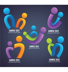 family in bright color on dark background vector image vector image