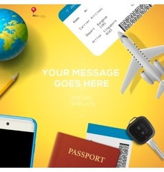 Preparation for travel phone ticket passport vector image