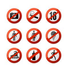 realistic 3d detailed stop signs icons set vector image