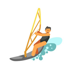 smiling boy rest actively by water kiting isolated vector image vector image