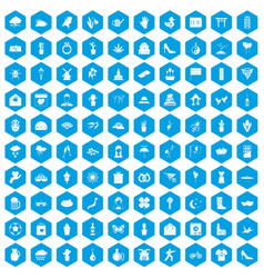 100 flowers icons set blue vector