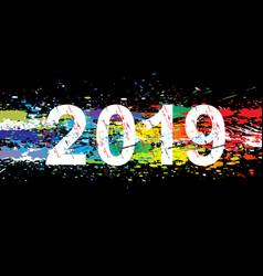 2019 year paint splashes gradient font vector image
