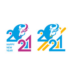 2021 symbol year bull vector image