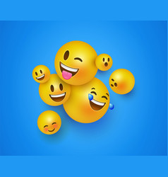 3d yellow smiley face icons on blue background vector