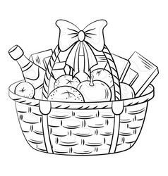 Basket with gifts vector