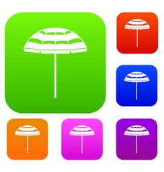 Beach umbrella set collection vector