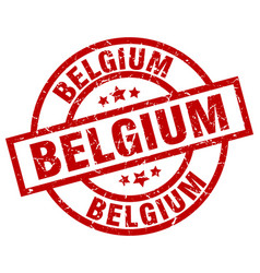 belgium red round grunge stamp vector image
