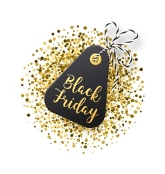 Black Friday sales tag Black tag with golden vector