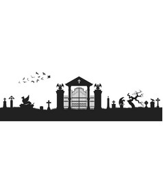 black silhouette of gothic cemetery vector image