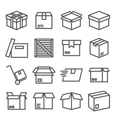 box and parcel icons set for business vector image