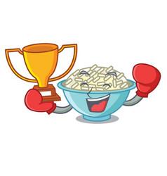 Boxing winner rice bowl mascot cartoon vector