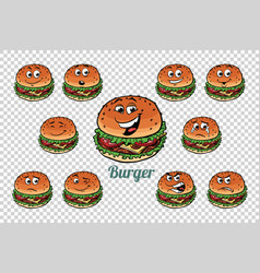 burger fast food emotions characters collection vector image