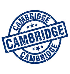 Cambridge blue round grunge stamp vector