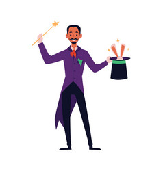 cartoon magician with magic wand holding top hat vector image