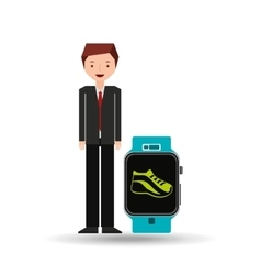 cartoon man smart watch and jogging icon vector image