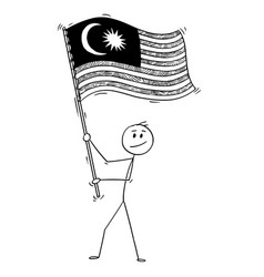 cartoon of man waving the flag of malaysia vector image