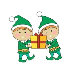 Christmas Elves Holding Gift Box Xmas Characters vector
