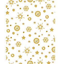 Christmas pattern background with golden vector
