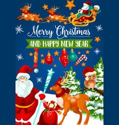 christmas santa sleigh with gift greeting card vector image