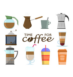 coffee set in flat design on a white background vector image
