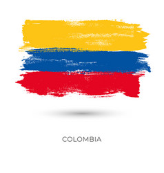 Colombia colorful brush strokes painted national vector
