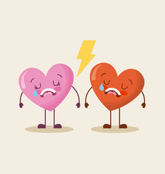 cute cartoon two hearts love cry sad vector image