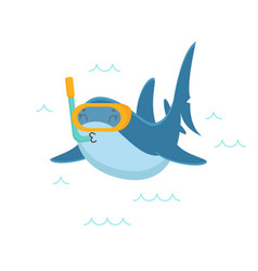 Cute shark character snorkeling with mask and tube vector