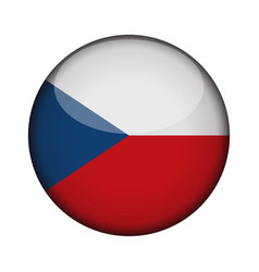 czech republic flag in glossy round button of vector image