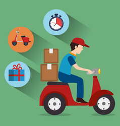 Delivery service worker character with set icons vector