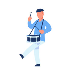 Drummer cartoon man playing drum male character vector