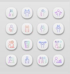 emotional stress app icons set vector image
