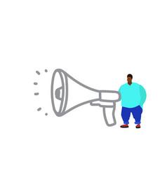 fat man near megaphone loudspeaker african vector image