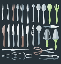 flat color cutlery set vector image