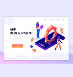 flat design isometric concept app development vector image