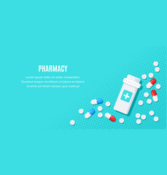 Flat style banner with medical drugs tablets vector