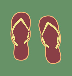 Flip flop sign cordovan icon and mellow vector
