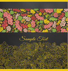 Floral doodle card in yellow tones vector