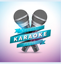 Flyer on a karaoke party theme vector