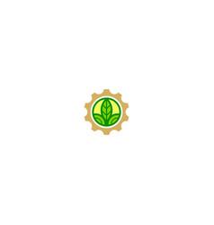 gear work farm green leaf logo vector image