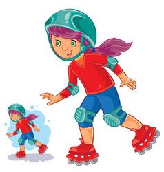 Girl rolls on roller skates vector