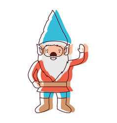 Gnome with costume and gesture of greeting in vector