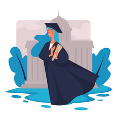Graduated student with diploma university vector