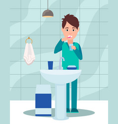 guy brushes his teeth with a toothbrush and vector image