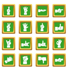 hand gesture icons set green vector image